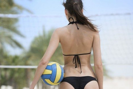Athletic-Woman-playing-Beach-Volleyball-Gulf-Shores-View-from-Behind-wr