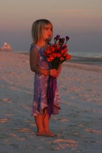 Sunset Gulf Shores Wedding Flower Girl at our Beachcastle Vacation Home